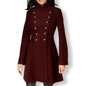Guess Burgundy Wool Blend Military Coat